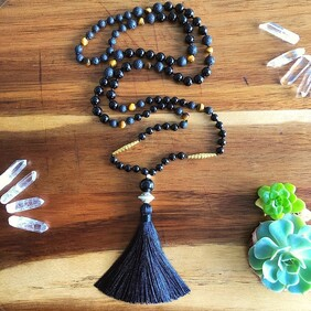 Gold Onyx & Tigers Eye Mala
