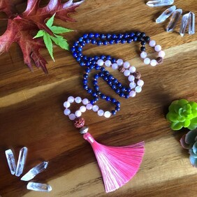 I am Present, I am Open Lapis Mala Beads