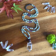 Amazonite, Amethyst & Quartz Mala Beads