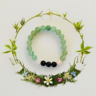Green Adventurine, Rose Quartz & Lava Diffuser Bracelet